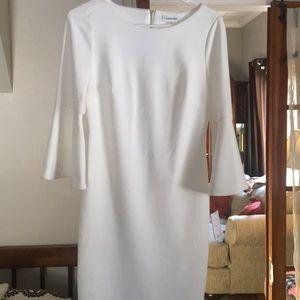 White Calvin Klein flared sleeve dress